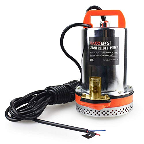 BACOENG 12V DC Farm & Ranch Solar Water Pump Submersible Well Pump DC 20FT Lift (12V, 24V, 48V Available)