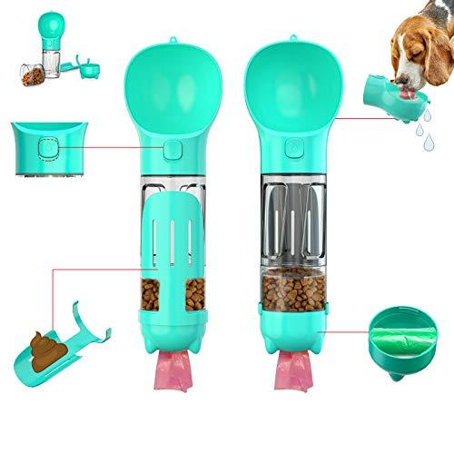 Botella de agua portátil de viaje para perros, dispensador de agua multifuncional con recipiente de alimentos y bolsa de basura para beber, comer y caminar, adecuado para perros y gatos.