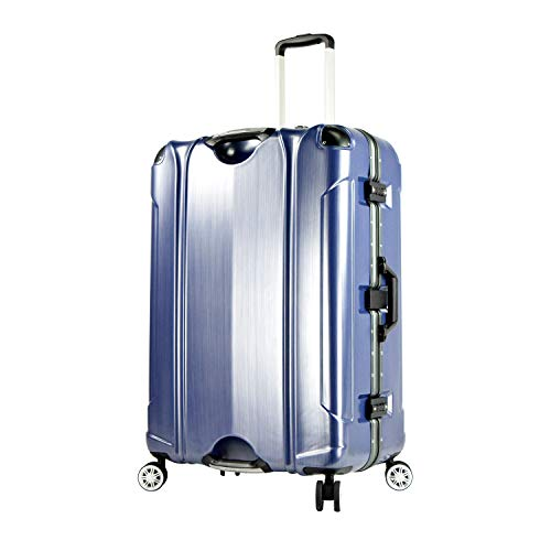TPRC 20' 'Luna Collection' Carry-On Luggage with Sturdy Aluminum Frame, WIDE-BODY, Dual 8-Wheel Spinner System, and TSA Locks, Brushed Blue Color Option