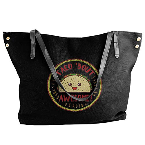 Jiaojiaozhe Taco 'bout Awesome - grappige Mexicaanse food dames Classic Shoulder Portable Big Tote handtas Work canvas tas