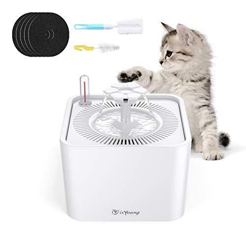 isYoung 2.2L Haustier Trinkbrunnen für Hunde und Katzen mit Wassermenge anzeige Blumentrinkbrunnen mit 5 Filter Ultra Leise Katzenbrunnen