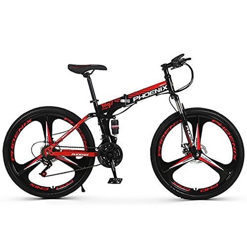 RUZNBAO Bicicleta Plegable Bicicleta Plegable de la montaña de Amortiguador de una Sola Rueda 26 Pulgadas de 24 Pulgadas portátil de 24 velocidades para Adultos Double Disco Freno Bicicleta Plegable