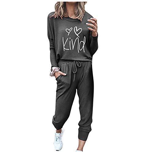 LEEDY Damen Freizeitanzug Sportanzug Sweatshirt + Hose Sportswear 2 Stück Bekleidungsset Sport Jogginganzug, Zweiteilige Solide Lässige Damenhose für Damen-Sets