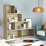 vidaXL Estantería de Aglomerado Divisor Espacios con 6 Estantes Divisor de Ambientes Librería para Sala de Estar Blanco Roble