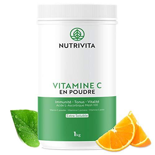 Vitamine C Poudre 1kg | 100% Acide L-Ascorbique Pur | Poudre Ultra Fine - Mesh 100 | Renforce le Système Immunitaire | Cuillère doseuse offerte | Nutrivita