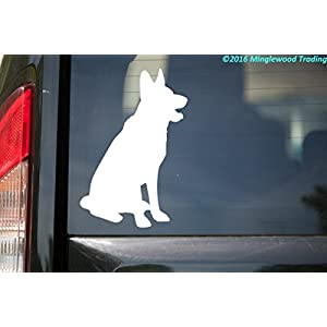 "Minglewood Trading German Shepherd Dog White Custom Vinyl Decal 5"" x 3.5"" GSD Alsatian Wolf Dog Canine 1"