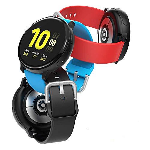 """Hianjoo 3 Piezas Correa Compatible con Samsung Galaxy Watch 3 41mm/Active 2/Active/Watch 42mm, Pulsera Banda de Deportes Suave Ajustable Silicona Reemplazo Bracelet, 5.5""""-6.7"""", Negro/Rojo/Azul"""