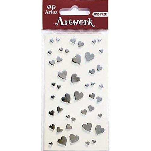 Artoz Artwork 3D Motiv-Sticker 185570-48,'Herzen silber', kleine Herzen spiegel-silber in verschiedenen Größen