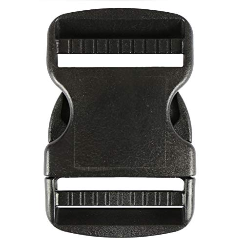 Strapworks 2 Inch Side Release Buckle Double Adjust Black 25 Pack