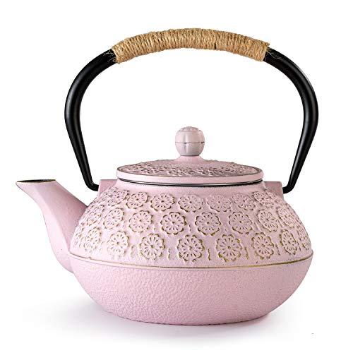 SUSTEAS Teekanne aus Gusseisen Tetsubin, japanischer Teekessel (900 ml, Pink)