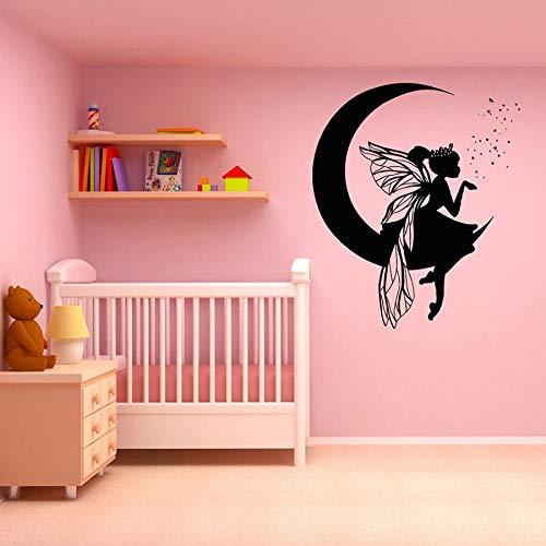 Luna anime chica pared calcomanía habitación de bebé jardín de infantes decoración del hogar vinilo pared pegatina magia linda chica papel tapiz