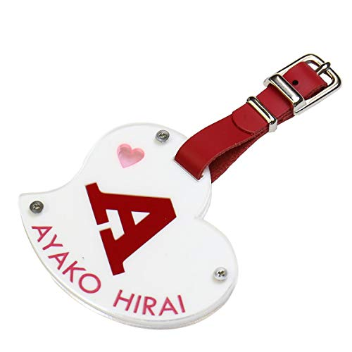 おもしろ名札工房 ピュア・ハートネームタグ ゴルフバッグ用ハート型ネームタグ(3)赤イニシャル×青文字
