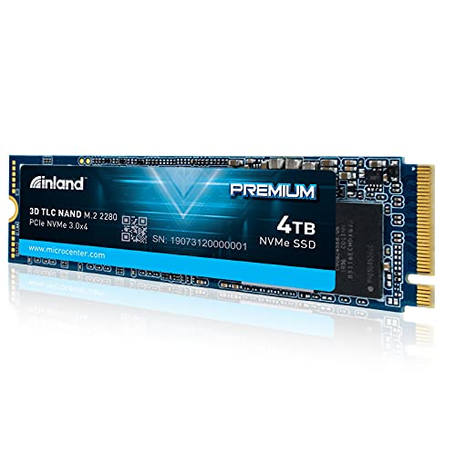 Inland Premium 4TB NVME PCIe 3.0 x4 M.2 2280 TLC 3D NAND SSD Internal Solid State Drive, Read/Write Speed up to 3400MB/s and 3000MB/s, 6000 TBW
