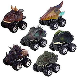 Beauenty Pull Back Dinosaur Cars 6 Pack, Kids Dinosaur Car Toys for 3-7 Year Old Boys Girls Dino Cars Vehicles Playset wit...
