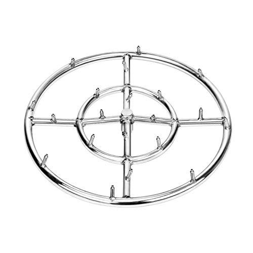 "Stanbroil 18"" Stainless Steel Round Jet Burner Ring for Natural or Propane Gas Fire Pit, 304 Series Stainless Steel, Double Ring"