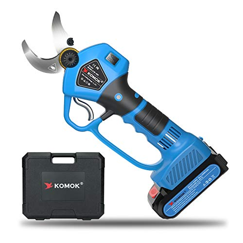 KOMOK Professional Cordless Electric Pruning Shears Secateurs,Smart Garden Orchard Tools,2 Rechargeable 2000mAh Battery Tree Branch Pruner with Handguard & Power Display 30mm/1.2Inch,6-8 Working Hours