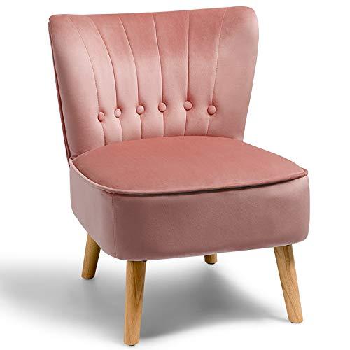 GOPLUS Freizeitstuhl mit Samtbezug, Polsterstuhl mit Rückenlehne, Wohnzimmerstuhl im Retro-Design, Beine aus Kautschukholz, Sitzhöhe von 40 cm, für Wohnzimmer Schlafzimmer (Rosa)