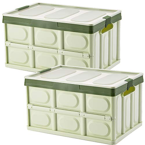 Tuevob Collapsible Storage Boxes Crates 2 Pack 30L Lidded Storage Bins Plastic Tote Storage Box Container Stackable Folding Utility Crate for Clothes, Toy, Books,Snack, Shoe Grocery Storage Bin-Green