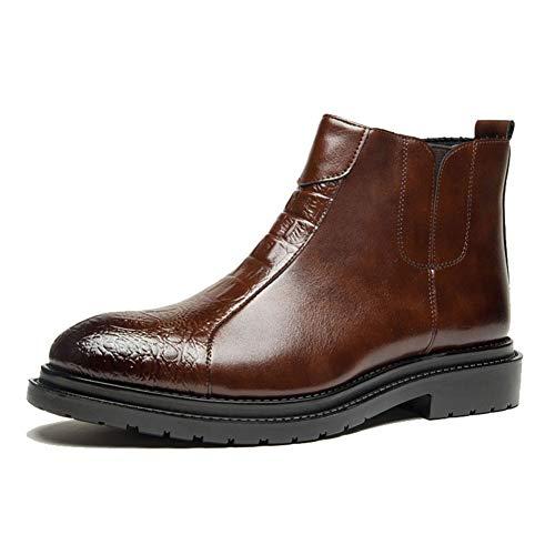 Leo Herren Chelsea Boots Leder Schlupfstiefel mit seitlichem Elastisch Stiefeletten Klassische Kleid Booties Schwarz Braun Größe 40-46, Braun (braun), 42 EU