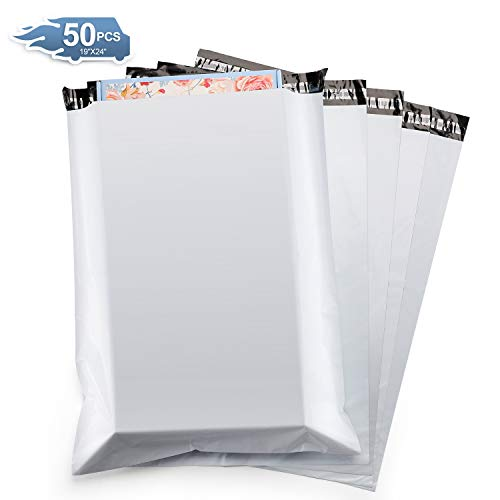 Metronic 50PC Large Shipping Bags White Poly Mailers 19x24 Envelopes with Self Adhesive,Waterproof and Tear-Proof Postal Bags