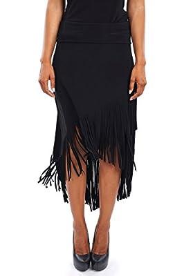 Joseph Ribkoff Mock-Wrap Jersey Skirt with Fringe Trim - Style 163081