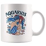N\A Taza de Regalo con horóscopo de Acuario, Taza de café con Signo del Zodiaco de Acuario, Taza de té de cumpleaños astrológico de 11 oz