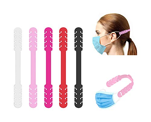 TBOC Verstellbare Maskenverlängerung - [Pack 5 Einheiten] Ohrhaken [Weiß+Rosa+Fuchsie+Rot+Schwarz] Silikon Ohrhalten für Mundschutz Mask Extender Gummibad mit Einstellschnallen für Hals Ohr Schmerz