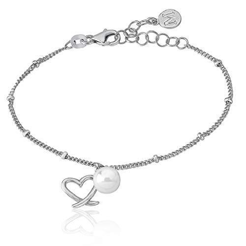 Majorica 16396.01.2.000.010.1 Pulsera Mujer Plata Perla Corazón Medida 15/18 cm