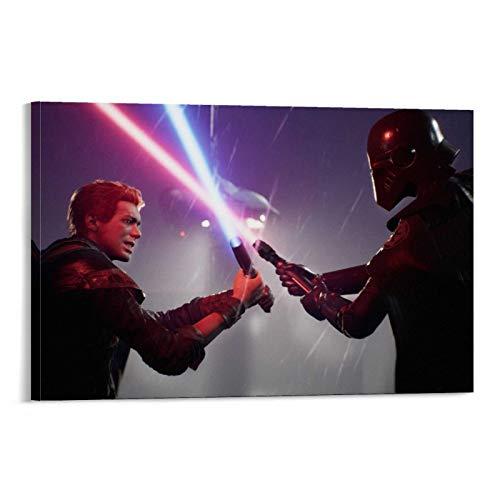 SSKJTC Lienzo artístico con personajes abstractos de Star Wars, póster de la película Jedi Fallen Order Darth Vader para decoración de la sala de estar (30 x 45 cm)