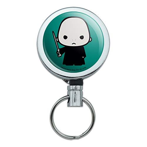 Harry Potter Voldemort Cute Chibi Character Heavy Duty Metal Retractable Reel ID Badge Key Card Tag Holder with Belt Clip