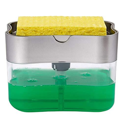 Hiansh Dispensador de jabón 2 en 1, dispensador de jabón, organizador de limpieza y lavado de fregadero, soporte para esponja y cepillo de lavado para fregadero de cocina