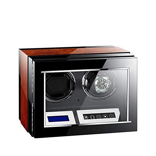 Enrolladores de relojes, caja automática para relojes, doble, 2 baterías de madera Estuches para relojes silenciosos Cajas para relojes Enrolladores para exhibición de almacenamiento Negro y marrón