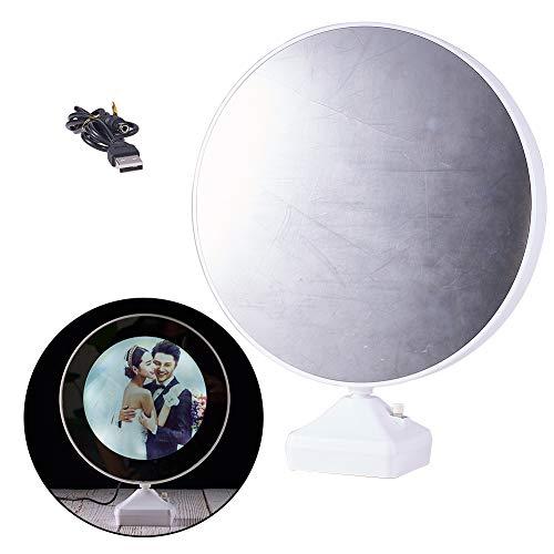 SUNNYCLUE Cosmétique Magique Photo Cadre Photo Miroir 25mm Ronde LED Maquillage Vanité Miroir Lumières avec UBS Plug Trou et Fente de Batterie pour Mariage Anniversaire Cadeaux, Blanc