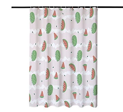 JOVEGSRVA Cartoon-Wassermelonen-Duschvorhänge, wasserdicht, Badezimmer-Gardinen, Dusch-Badevorhang, mit 12 Haken, 180 x 180 cm