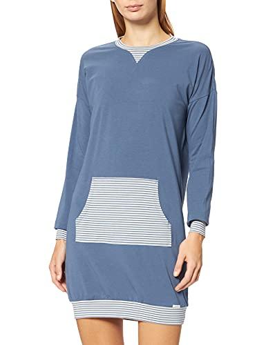 Skiny Damen Sleepshirt Langarm Nachthemd, Denim Blue, 38