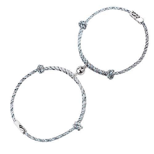 Wisolt Pulsera magnética para parejas, pulseras ajustables de larga distancia para parejas, parejas, parejas, juego de joyería para mujeres y hombres