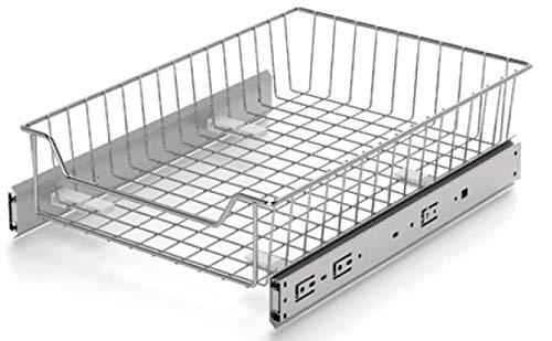 Korbschublade Küchenschublade Teleskopschublade Schublade Korbauszug | Chrom | 600 mm Schrankbreite | Verstellbar