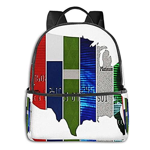 Rucksack Freizeit Damen Herren, Prepaid-US-Guthaben Campus Kinderrucksack, Daypack Schulrucksack Sportrucksack Tablet Tasche 15,6 Zoll