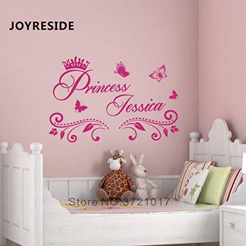 SPFOZ Haus Dekoration Prinzessin Benutzerdefinierte Mädchen-Namen-Kunst Entwurfs-Wand-Aufkleber-Ausgang Baby Schlafzimmer-Wand-Dekor-Wand-Aufkleber Personalized Name Vinyl M397