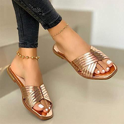FAYHRH Sandalias de Mujer de Desgaste Exterior,Zapatillas cómodas de Puntera Plana, Sandalias de Damas al Aire Libre de Ocio-A_39