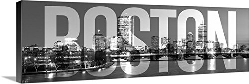 CanvasOnDemand 2441445_24_36x12_None Circle Capture Premium Thick-Wrap Canvas Entitled Boston Skyline, Transparent Overlay Wall Art Print, 36 x 12