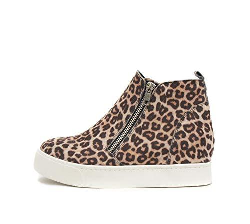 Soda Taylor Hidden Wedge Sole Booties Ankle Heels Sneaker Shoes Side Zipper (7.5, OATEAM CHEETAH)