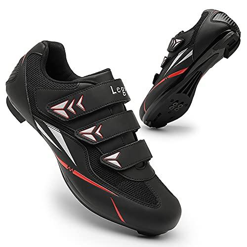 Zapatillas de ciclismo para hombre transpirable para montar en carretera SPD y Delta Lock Pedal Bike Zapatos para interior y exterior Racing, 8097 Negro, 39 2/3 EU