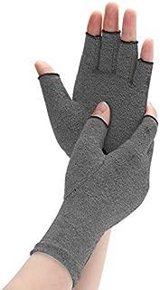 Arthritis Compression Gloves Relieve Pain from Rheumatoid, RSI, Carpal Tunnel, Rheumatiod, Tendonitis, Hand Gloves Fingerless for Dailywork - Men & Women - Open Finger (Gray, Medium)
