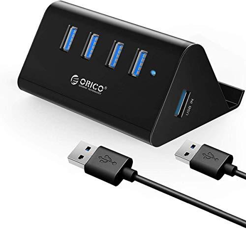 ORICO USB3.0 ハブ 4ポート スマホホルダー & HUB バスパワー 5Gbps 高速 ハブ 100cm 取り外し可能 ケーブル付き 一本両役 USB3.0HUB ブラック SHC-U3 (ブラック)