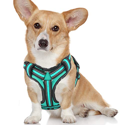 Bolux No Pull Dog Harness, Adjustable Pet Reflective Oxford Soft Vest Harness with Leash Clips for Small Medium Large Dogs, Pet No-Choke Halters with Nylon Handle