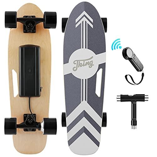 Nesaila Skateboard Elettrico con Telecomando, Longboard Elettrico Skateboard in Acero a 7 Strati, Elettrico Skateboard per Adolescenti e Adulti, velocità Massima 20 KM/H, Motore da 350W