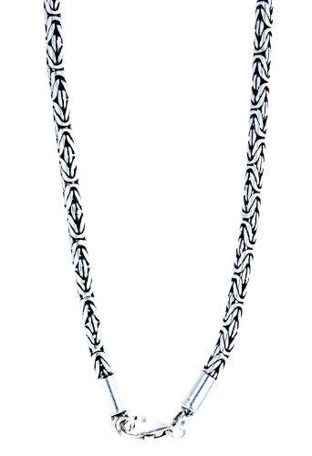 Collana pregiata a maglia bizantina, in argento sterling 925, 3mm di spessore, diverse lunghezze e argento, cod. ABC-226