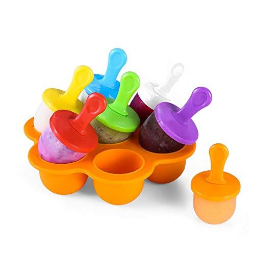 miuse Mini Silikon Popsicle Form 7 Mulden DIY Ice Pop Form mit bunten Kunststoff-Sticks, Eis Makers für Ei, Lollipop und Eis Form Baby Food Storage Container, Antihaft Silikon Ice Cube Tray(Orange)