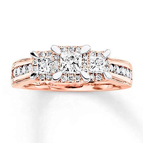 Anillo de Compromiso de Oro Rosa de 18 Quilates con Diamante de Corte Princesa y Tres Piedras para Mujer